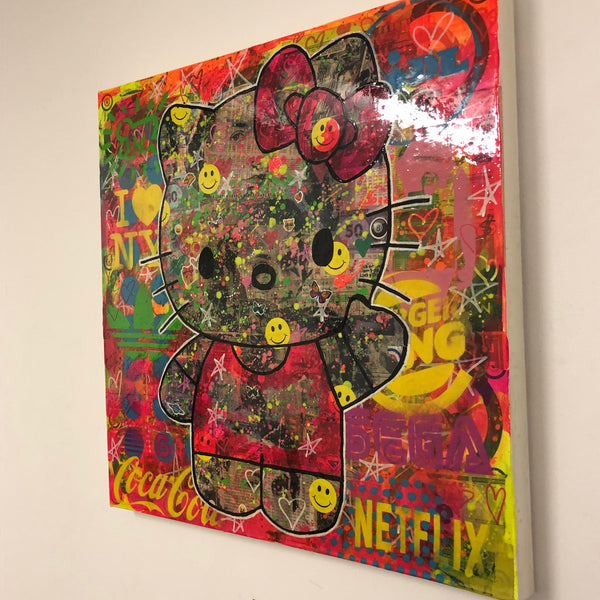 Psycho kitty by Barrie J Davies 2020, Mixed media on Canvas, 60cm x 60cm, Unframed. Barrie J Davies is an Artist - Urban Pop Art and Street art inspired Artist based in Brighton England UK - Shop Pop Art Paintings, Street Art Prints & collectables.