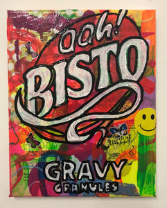 Its Gravy Baby by Barrie J Davies 2019, Mixed media on Canvas, 20cm x 25cm, Unframed. Barrie J Davies is an Artist - Pop Art and Street art inspired Artist based in Brighton England UK - Pop Art Paintings, Street Art Prints & Editions available.
