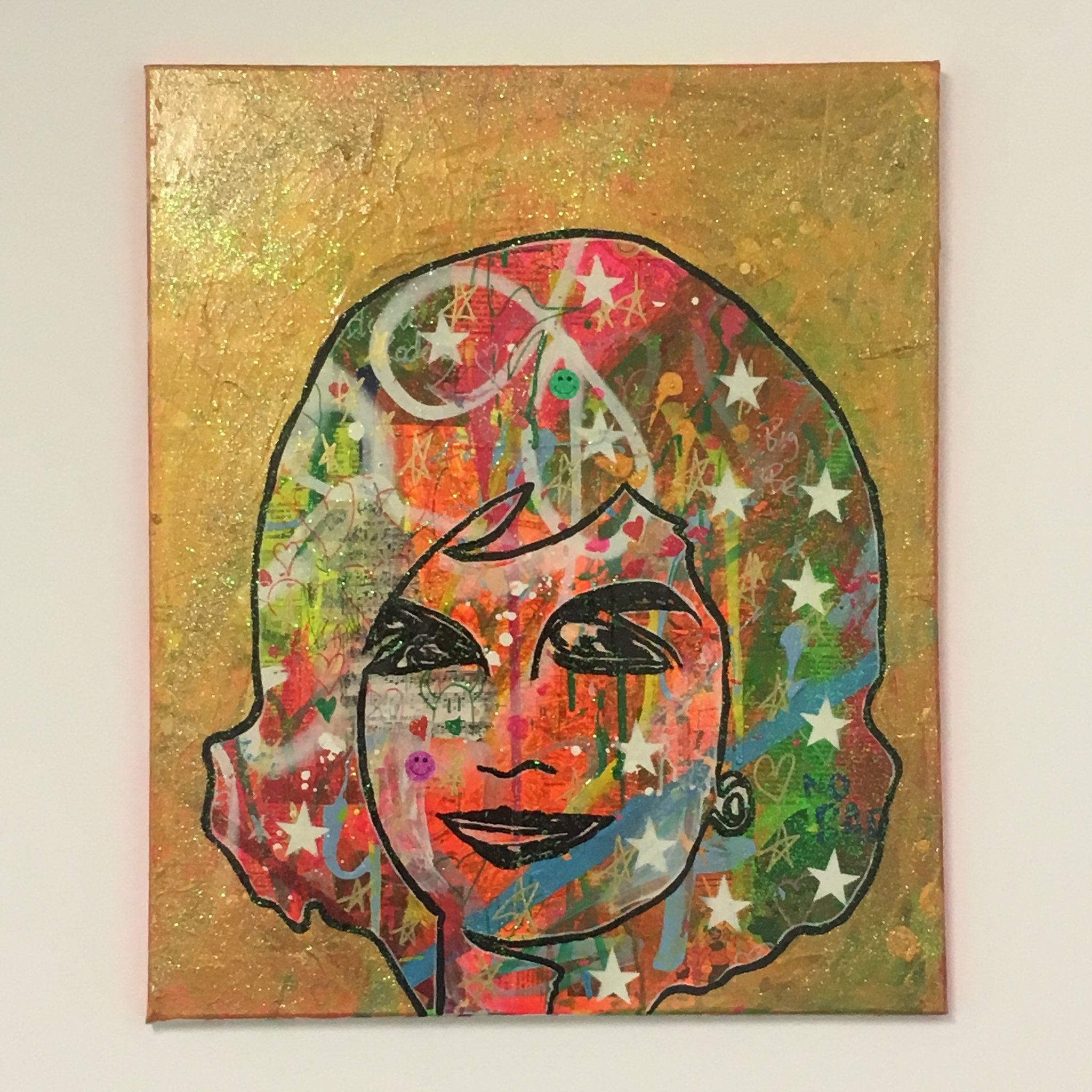 Jackie OK by Barrie J Davies 2017, Mixed media on canvas, 50cm x 60cm, unframed. Barrie J Davies is an Artist - Pop Art and Street art inspired Artist based in Brighton England UK - Pop Art Paintings, Street Art Prints & Editions available.