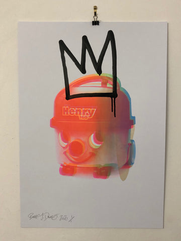 King Suck it up Print by Barrie J Davies 2020, Silkscreen print. Urban Pop Art Street Artist based in Brighton England UK. Buy online for free delivery worldwide.