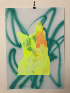 Kitschy Cat Print by Barrie J Davies 2021. Urban Pop Street Artist based in Brighton England UK. Buy Online for free delivery worldwide.