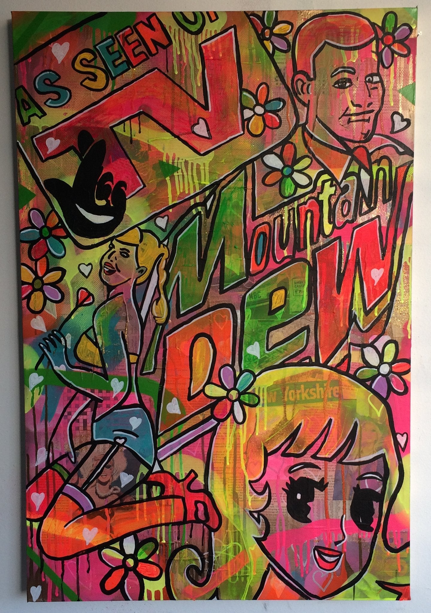 Lady Luck by Barrie J Davies 2015, mixed media on canvas 60cm x 80cm, Unframed. Barrie J Davies is an Artist - Pop Art and Street art inspired Artist based in Brighton England UK - Pop Art Paintings, Street Art Prints & Editions available.
