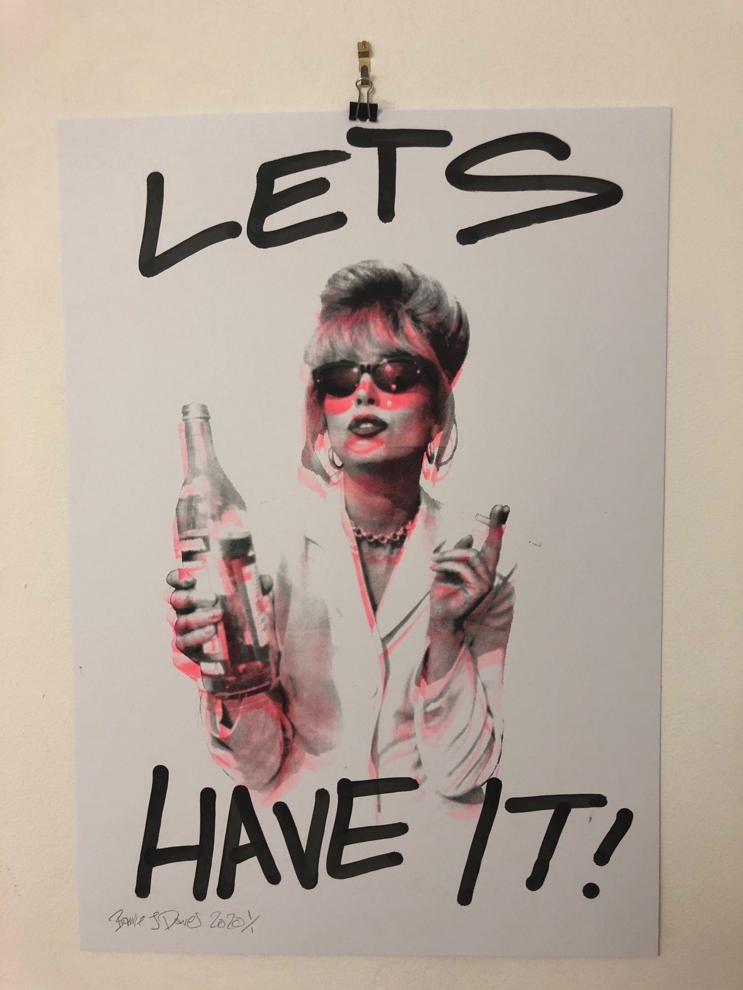 Lets Have It I Want It All Print by Barrie J Davies 2020 - unframed Silkscreen print on paper (hand finished with tagging marker pen) edition of 1/1 - A2 size 42cm x 59.4cm.  Barrie J Davies is an Artist - Pop Art and Street art inspired Artist based in Brighton England UK - Paintings, Prints & Editions available.