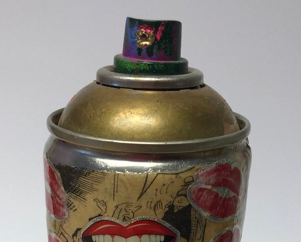 Lips Spray Can Sculpture by Barrie J Davies 2020, Mixed media sculpture. Barrie J Davies is an Artist - Pop Art and Street art inspired Artist based in Brighton England UK - Pop Art Paintings, Street Art Prints & Editions available.