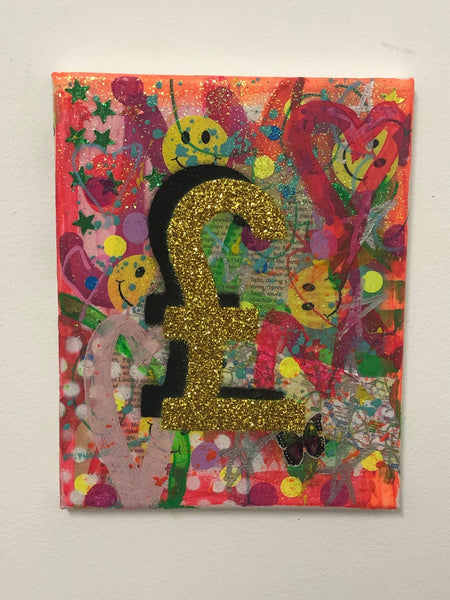 Loads of Money by Barrie J Davies 2019, Mixed media on Canvas, 20cm x 25cm, Unframed. Barrie J Davies is an Artist - Urban Pop Art and Street art inspired Artist based in Brighton England UK - Pop Art Paintings, Street Art Prints & collectables.