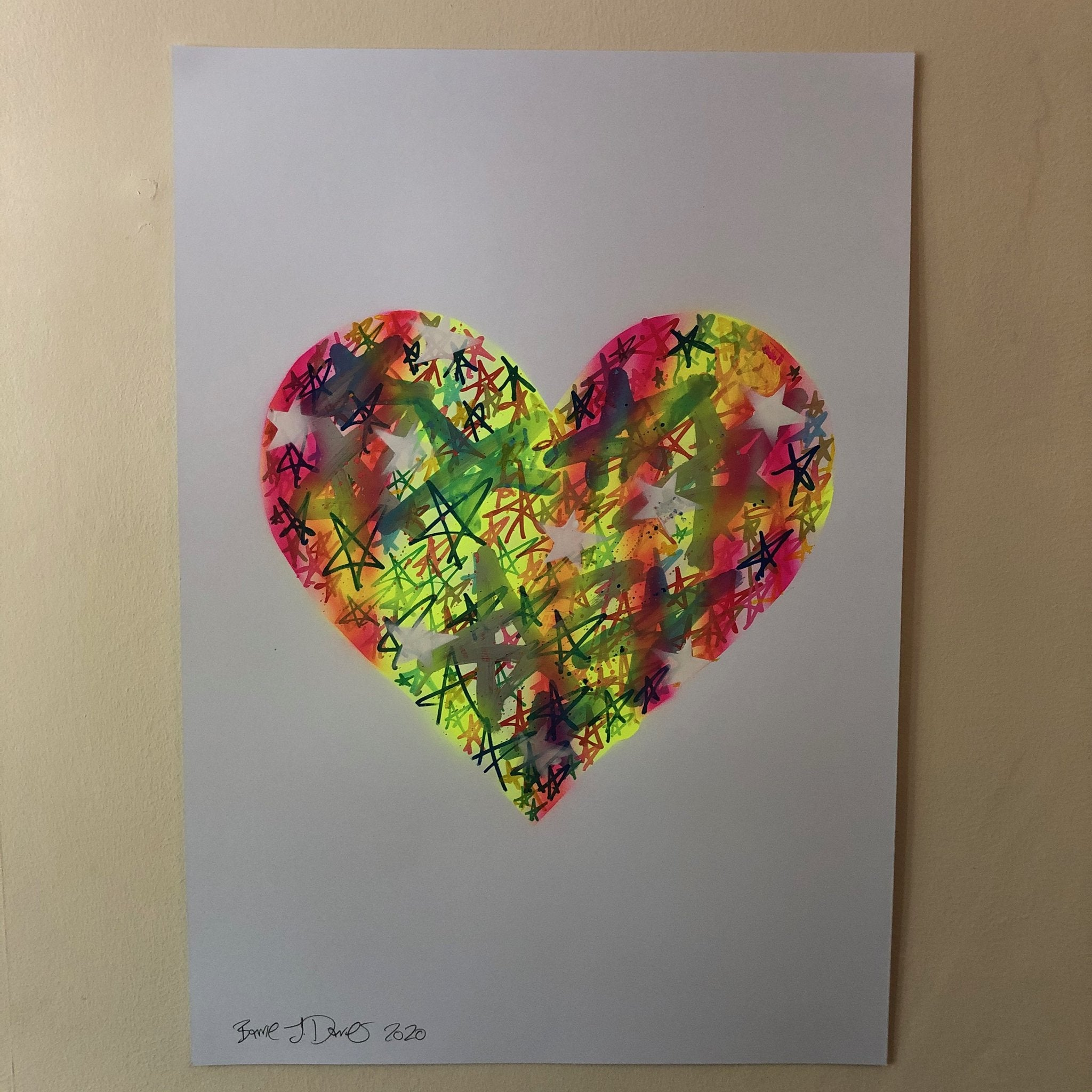 Love Heart drawing by Barrie J Davies 2020, Mixed media on Paper (unframed) A2 size 42cm x 59.4cm. Barrie J Davies is an Artist - Pop Art and Street art inspired Artist based in Brighton England UK - Paintings, Prints & Editions available.