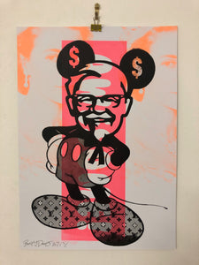 Mad Mickey mash up Print by Barrie J Davies 2021, Urban Pop Street Artist based in Brighton England UK. Buy Online for free delivery worldwide.
