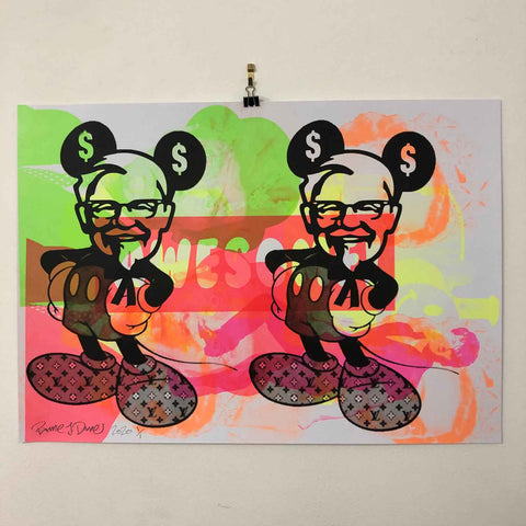 Mad Mickey Mashup Print by Barrie J Davies 2020, Urban Pop Art Street Artist based in Brighton England UK. Buy online for free delivery worldwide.