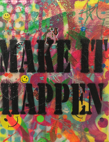 Make it Happen by Barrie J Davies 2019, Mixed media on Canvas, 20cm x 25cm, Unframed. Barrie J Davies is an Artist - Urban Pop Art and Street art inspired Artist based in Brighton England UK - Pop Art Paintings, Street Art Prints & collectables.