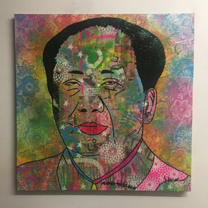 Mao Mao by Barrie J Davies 2017, mixed media on canvas, 90cm x 90cm, unframed. Barrie J Davies is an Artist - Urban Pop Art and Street art inspired Artist based in Brighton England UK - Pop Art Paintings, Street Art Prints & collectables.