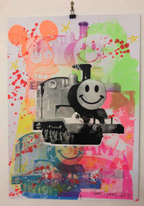 Mash Up Happy Trip Print by Barrie J Davies 2020 - unframed Silkscreen print on paper (hand finished) edition of 1/1 - A2 size 42cm x 59.4cm. Urban Pop Art and Street art inspired Artist based in Brighton England UK - Pop Art Paintings, Street Art Prints & collectables.