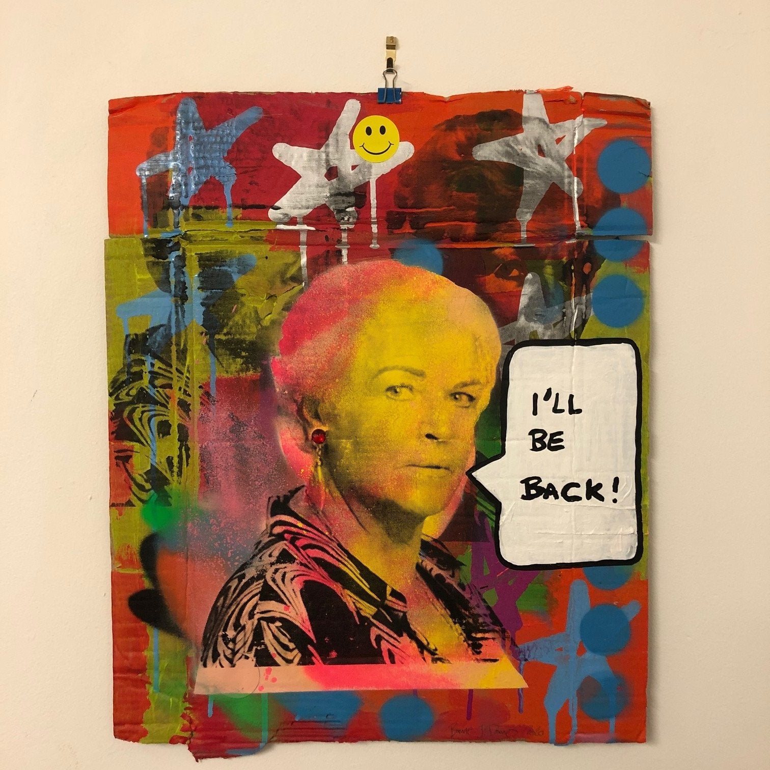 Pat will be Back by Barrie J Davies 2020, mixed media on cardboard, unframed, 44cm x 47cm.  Barrie J Davies is an Artist - Pop Art and Street art inspired Artist based in Brighton England UK - Pop Art Paintings, Street Art Prints & Editions available.