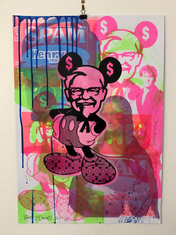 Pink Mash Up Mad Mickey Print by Barrie J Davies 2021, Urban Pop Art Street Artist based in Brighton England UK. Buy online for free delivery worldwide.