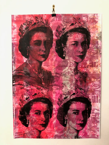 Pink Queen Print by Barrie J Davies 2021 Silkscreen on paper. Barrie J Davies Urban Pop Art & Street art inspired Artist based in Brighton England UK
