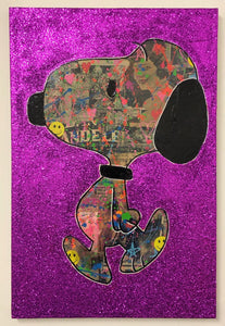 Pink Snoop by Barrie J Davies 2020, mixed media on canvas, Unframed, 50cm x 75cm. Barrie J Davies is an Artist - Pop Art and Street art inspired Artist based in Brighton England UK - Pop Art Paintings, Street Art Prints & Editions available.