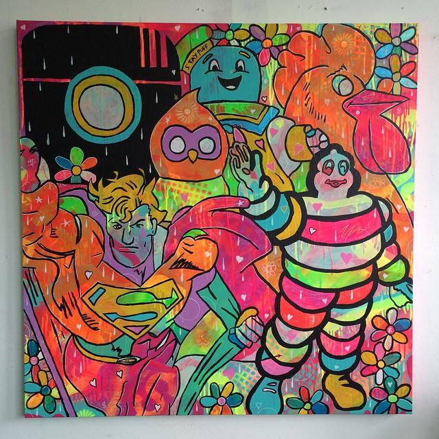Poker Face by Barrie J Davies 2015, mixed media on canvas, 100cm x 100cm, unframed. Barrie J Davies is an Artist - Pop Art and Street art inspired Artist based in Brighton England UK - Pop Art Paintings, Street Art Prints & Editions available.