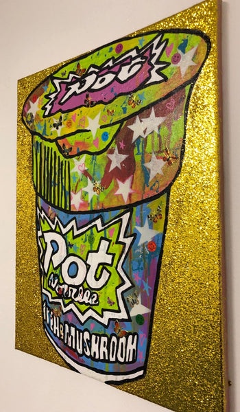Pop my noodle by Barrie J Davies 2019, mixed media on canvas, unframed, 40cm x 49cm. Barrie J Davies is an Artist - Urban Pop Art and Street art inspired Artist based in Brighton England UK - Shop Pop Art Paintings, Street Art Prints & collectables.