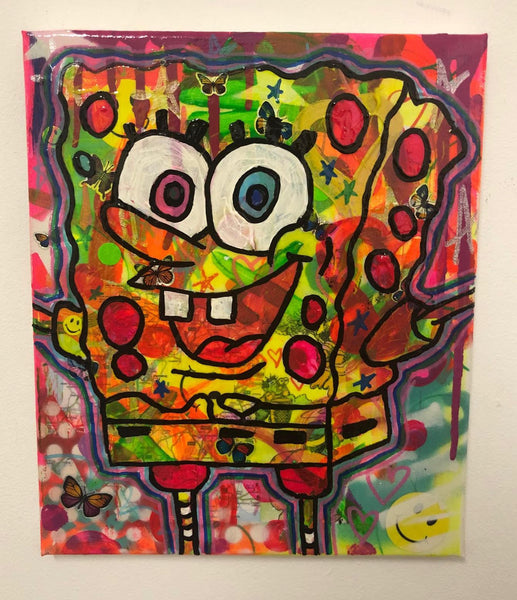 Psychedelic party bob by Barrie J Davies 2019, Mixed media on Canvas, 20cm x 25cm, Unframed. Barrie J Davies is an Artist - Pop Art and Street art inspired Artist based in Brighton England UK - Pop Art Paintings, Street Art Prints & Editions