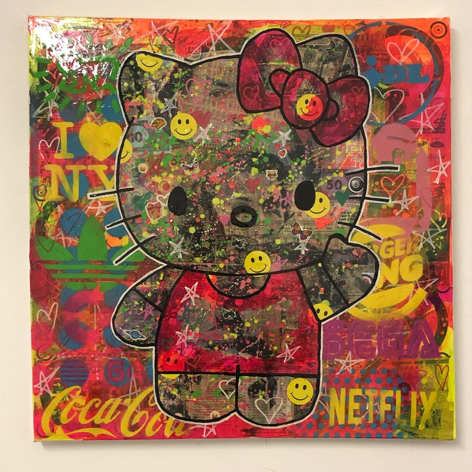 Psycho kitty by Barrie J Davies 2020, Mixed media on Canvas, 60cm x 60cm, Unframed. Barrie J Davies is an Artist - Urban Pop Art and Street art inspired Artist based in Brighton England UK - Shop Pop Art Paintings, Street Art Prints & collectables