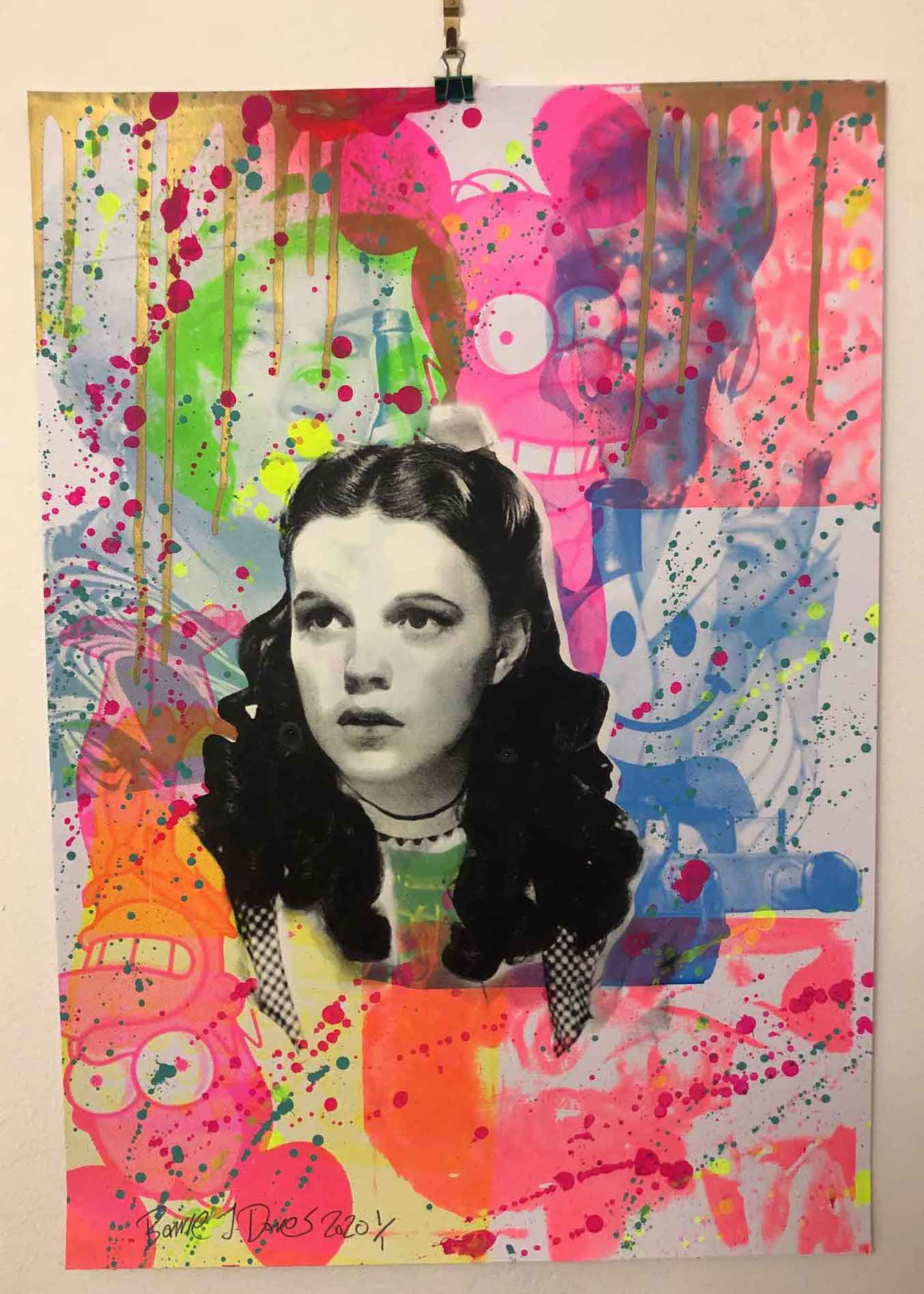 Rainbow Mash Up Print by Barrie J Davies 2020 - unframed Silkscreen print on paper (hand finished) edition of 1/1 - A2 size 42cm x 59.4cm. Urban Pop Art and Street art inspired Artist based in Brighton England UK - Pop Art Paintings, Street Art Prints & collectables.