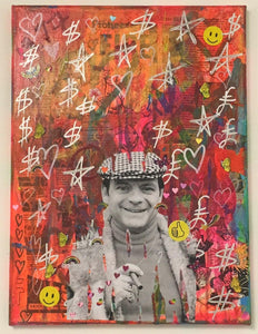 Rich man with nothingness by Barrie J Davies 2018, mixed media on canvas, 30cm x 40cm, unframed. Barrie J Davies is an Artist - Pop Art and Street art inspired Artist based in Brighton England UK - Pop Art Paintings, Street Art Prints & Editions available.