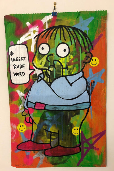 Rude Ralph by Barrie J Davies 2020, mixed media on cardboard, unframed, 63cm x 40cm.  Barrie J Davies is an Artist - Urban Pop Art and Street art inspired Artist based in Brighton England UK - Shop Pop Art Paintings, Street Art Prints & collectables.