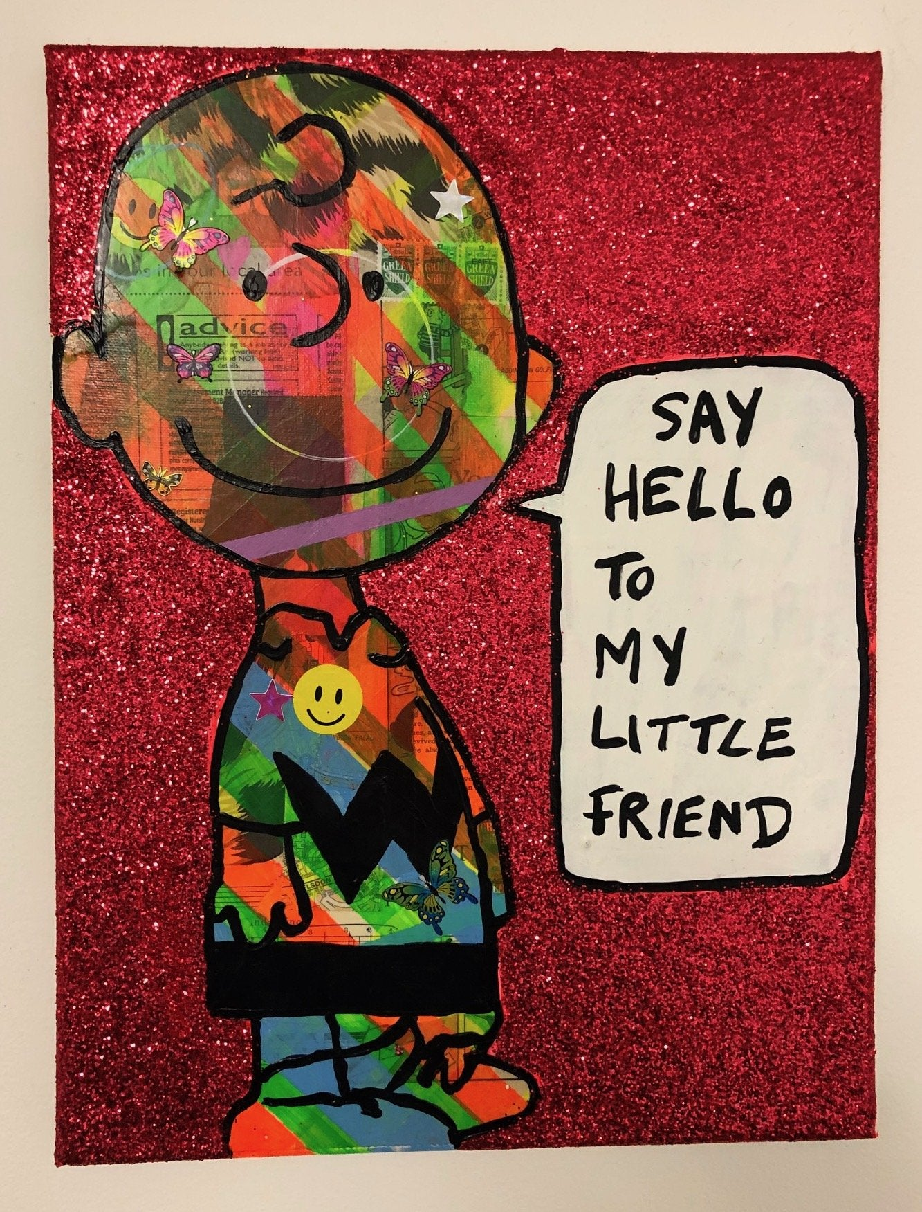 Say hello to my little friend by Barrie J Davies 2019 , mixed media on canvas, unframed, 30cm x 40cm. Barrie J Davies is an Artist - Pop Art and Street art inspired Artist based in Brighton England UK - Pop Art Paintings, Street Art Prints & Editions available.
