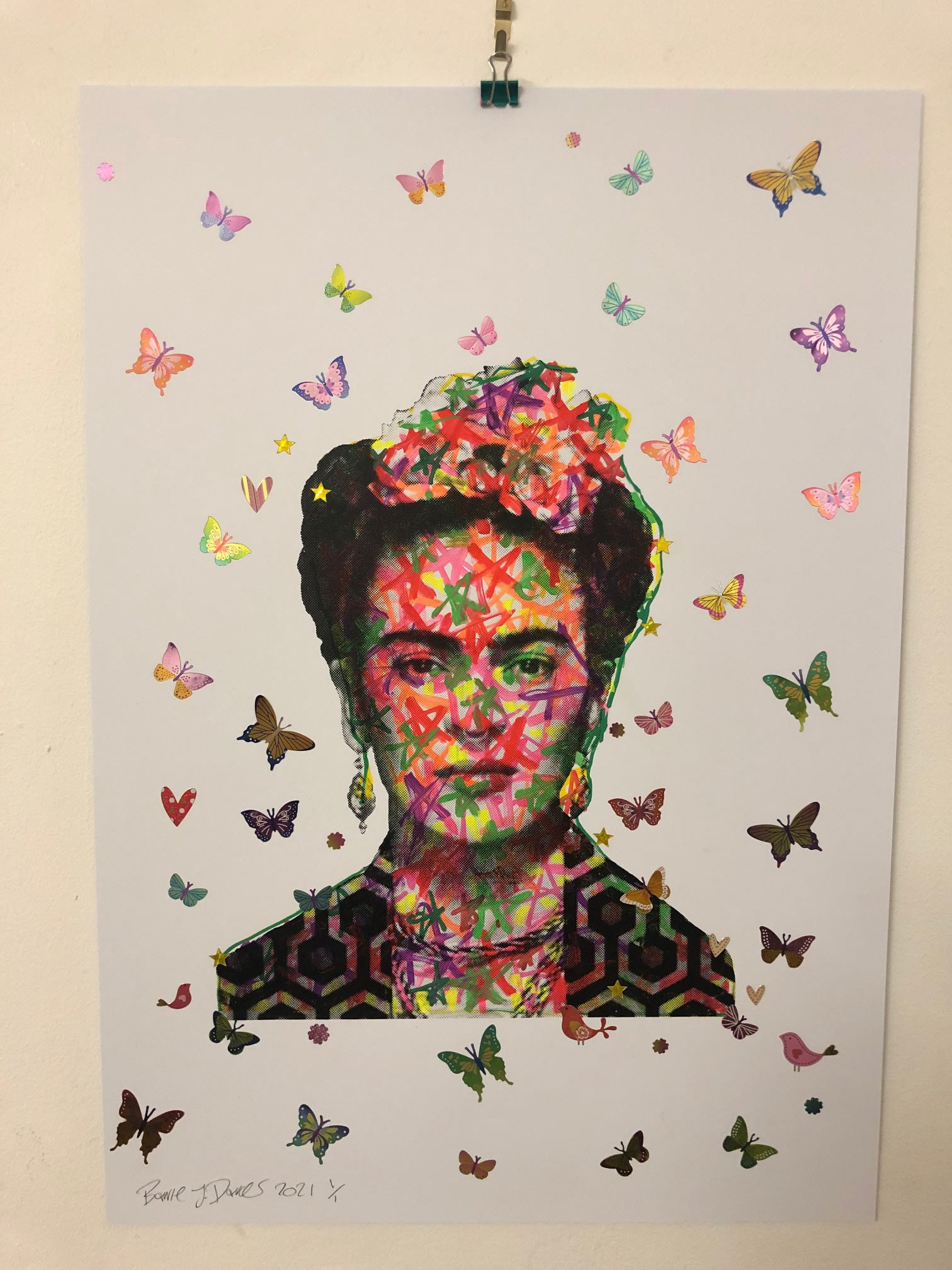Shine On You Crazy Diamond Butterfly Print by Barrie J Davies 2021, Urban Pop Art Street Artist based in Brighton England UK. Buy online for free delivery worldwide.