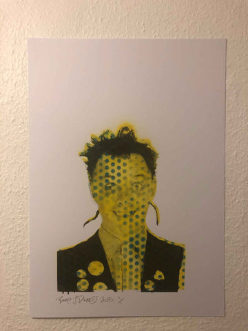 Spotty Slick Rick Print by Barrie J Davies 2020 - Silkscreen print on paper. Urban Pop Art Street Artist based in Brighton England UK. Buy online for free delivery worldwide.