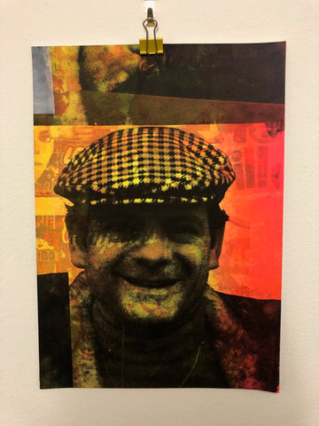 Small Cushty Print by Barrie J Davies 2021.  Fun Urban Pop Art Street Artist based in Brighton England UK. Buy art for free delivery worldwide.