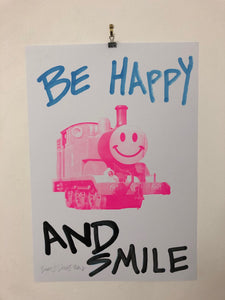 Smile Happy Trip Print by Barrie J Davies 2020 - unframed Silkscreen print on paper (hand finished) edition of 1/1 - A2 size 42cm x 59.4cm. Urban Pop Art and Street art inspired Artist based in Brighton England UK - Pop Art Paintings, Street Art Prints & collectables.