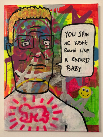 Spin me round by Barrie J Davies 2020, mixed media on canvas, unframed, 30cm x 40cm. Barrie J Davies is an Artist - Pop Art and Street art inspired Artist based in Brighton England UK - Paintings, Prints & Editions available.
