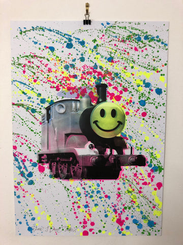 Splattered Happy Trip Print by Barrie J Davies 2020 - unframed Silkscreen print on paper (hand finished) edition of 1/1 - A2 size 42cm x 59.4cm. Urban Pop Art and Street art inspired Artist based in Brighton England UK - Pop Art Paintings, Street Art Prints & collectables.