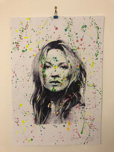 Splattered super Kate print by Barrie J Davies 2019 - unframed Silkscreen print on paper (hand finished) edition of 1/1 - A2 size 42cm x 59cm. Barrie J Davies is an Artist - Pop Art and Street art inspired Artist based in Brighton England UK - Pop Art Paintings, Street Art Prints & Editions available.