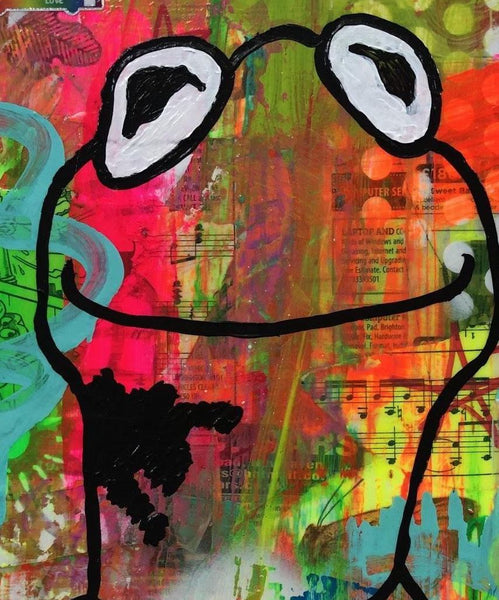 Street Frog by Barrie J Davies 2019, mixed media on canvas, 25cm x 30 cm, unframed. Barrie J Davies is an Artist - Pop Art and Street art inspired Artist based in Brighton England UK - Pop Art Paintings, Street Art Prints & Editions available.