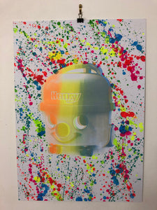 Splattered Suck it up Pop Art Print by Barrie J Davies 2020 - unframed Silkscreen print on paper (hand finished) edition of 1/1 - A2 size 42cm x 59.4cm.  Barrie J Davies is an Artist - Pop Art and Street art inspired Artist based in Brighton England UK - Pop Art Paintings, Street Art Prints & Editions available.