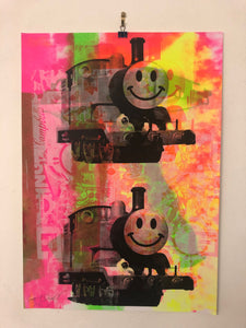 Super Happy Trip Print by Barrie J Davies 2021. Up and coming Urban Pop Art and Street art Artist based in Brighton England UK