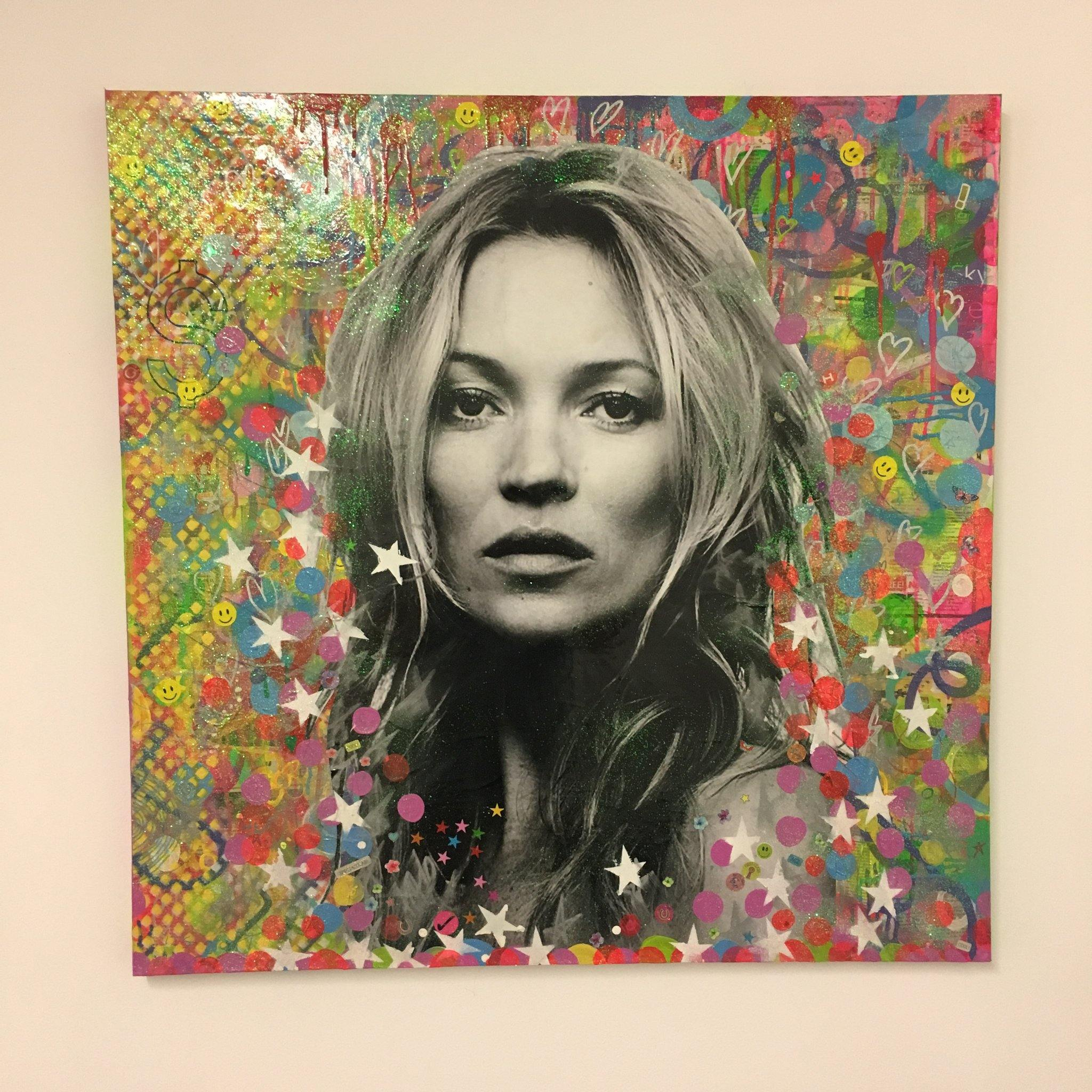 Super Kate by Barrie J Davies 2018, Mixed media on canvas, 90cm x 90cm, unframed. Barrie J Davies is an Artist - Pop Art and Street art inspired Artist based in Brighton England UK - Pop Art Paintings, Street Art Prints & Editions available.