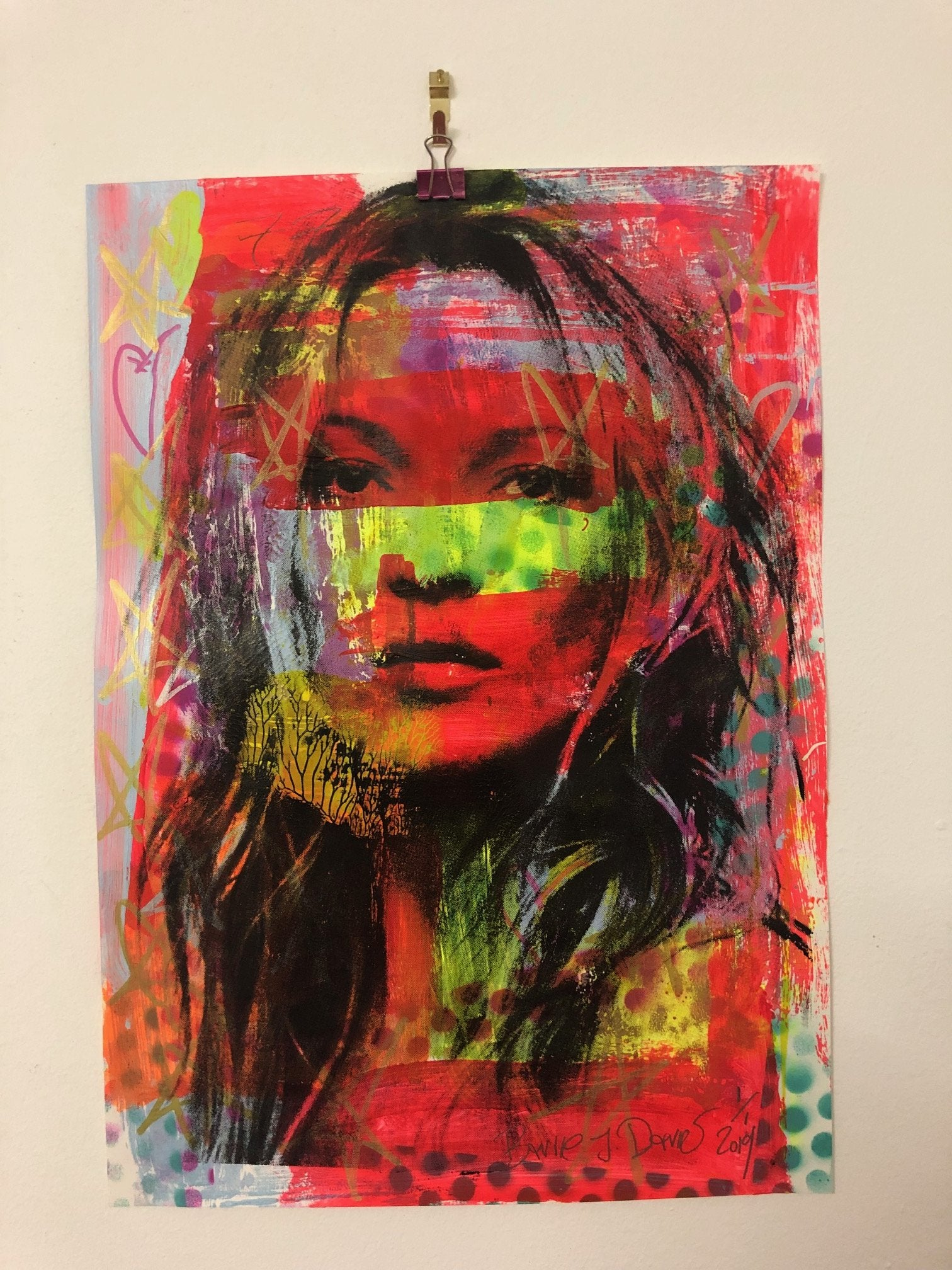 Super Kate Print by Barrie J Davies 2019 - unframed Silkscreen print on paper (hand finished) edition of 1/1 - A3 size 29cm x 42cm. Barrie J Davies is an Artist - Pop Art and Street art inspired Artist based in Brighton England UK - Pop Art Paintings, Street Art Prints & Editions available.