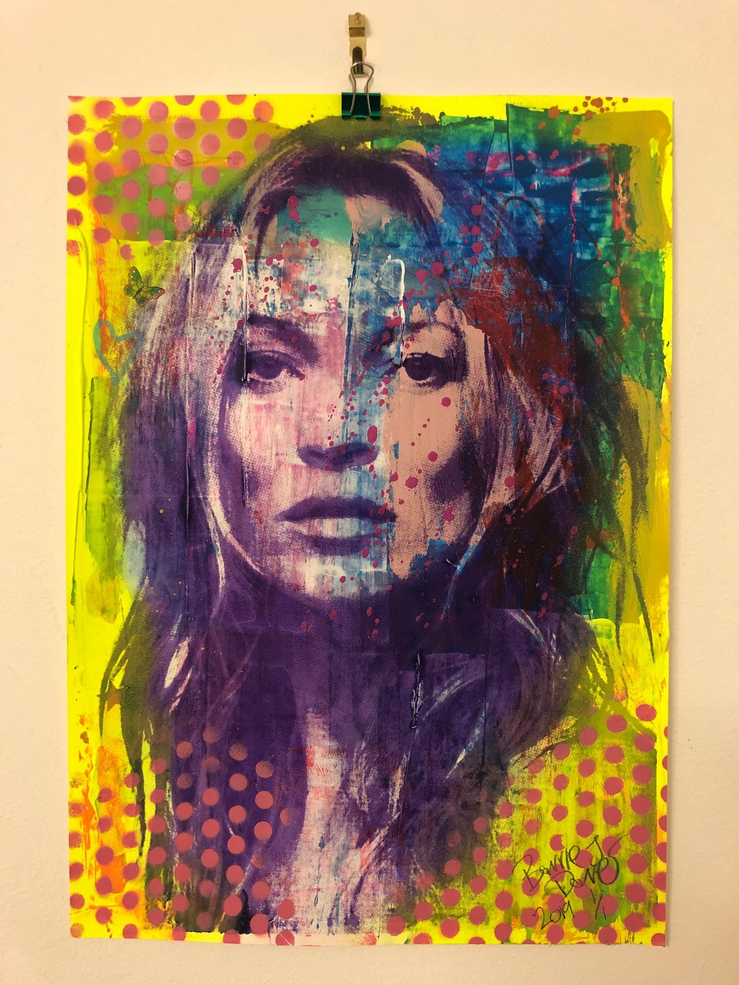 Super Kate Print by Barrie J Davies 2019 - unframed Silkscreen print on paper (hand finished) edition of 1/1 - A3 size 29cm x 42cm. Urban Pop Art and Street art inspired Artist based in Brighton England UK - Shop Pop Art Paintings, Street Art Prints & collectables.