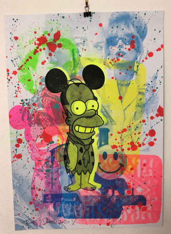 Super Monster Mash Print by Barrie J Davies 2020 - unframed Silkscreen print on paper (hand finished) edition of 1/1 - A2 size 42cm x 59.4cm. Urban Pop Art and Street art inspired Artist based in Brighton England UK - Pop Art Paintings, Street Art Prints & collectables.