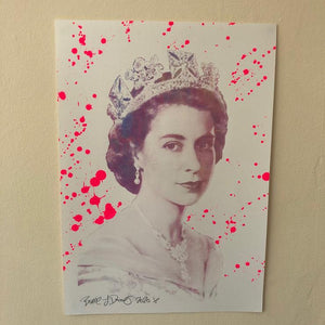 The Queen Urban Pop Art Print by Barrie J Davies 2020. Fun Colourful Pop Art Street Artist based in Brighton. Art For sale online with free delivery worldwide.