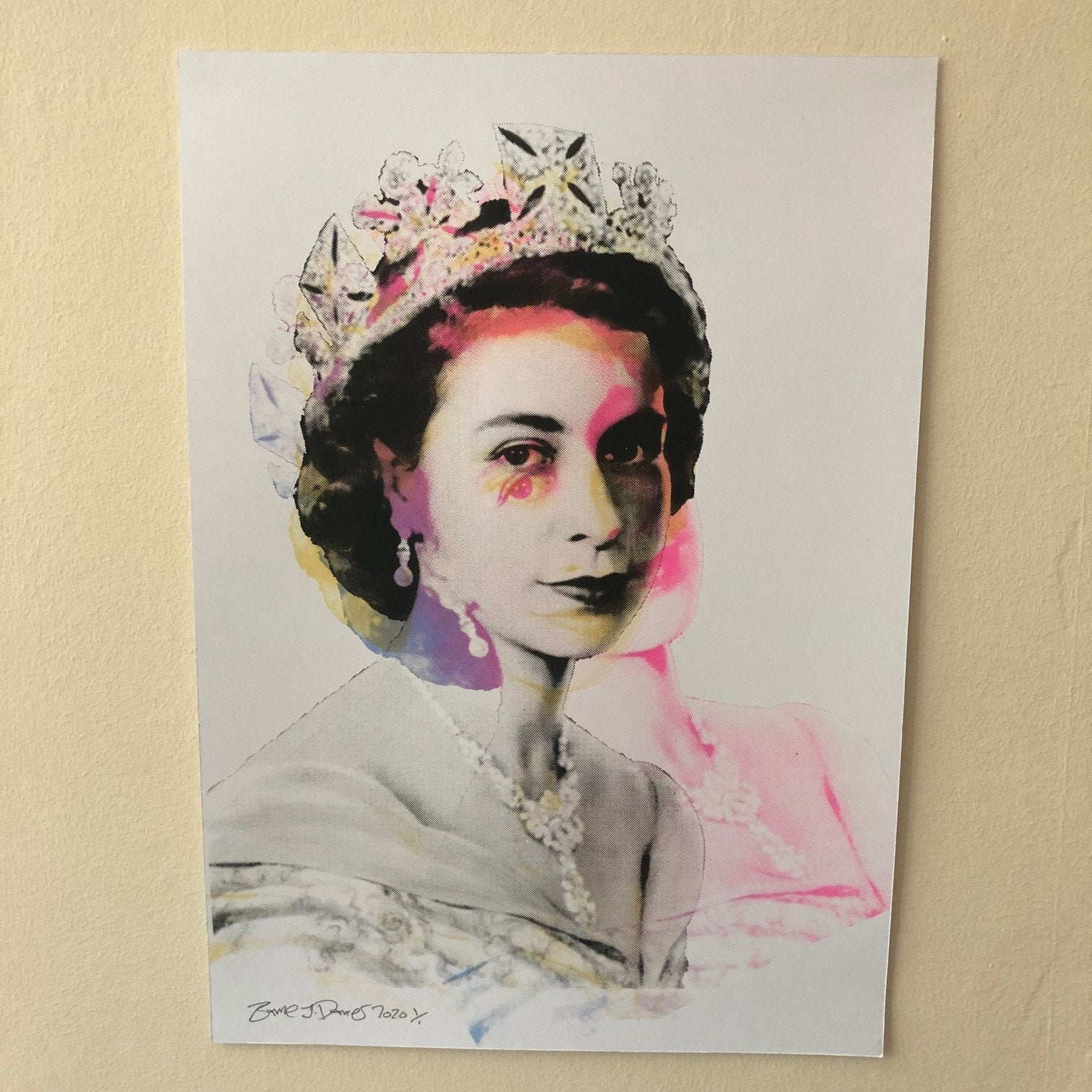 The Queen Print by Barrie J Davies 2020. Fun Contemporary Pop Street Artist based in Brighton England UK. Shop online for free delivery worldwide.