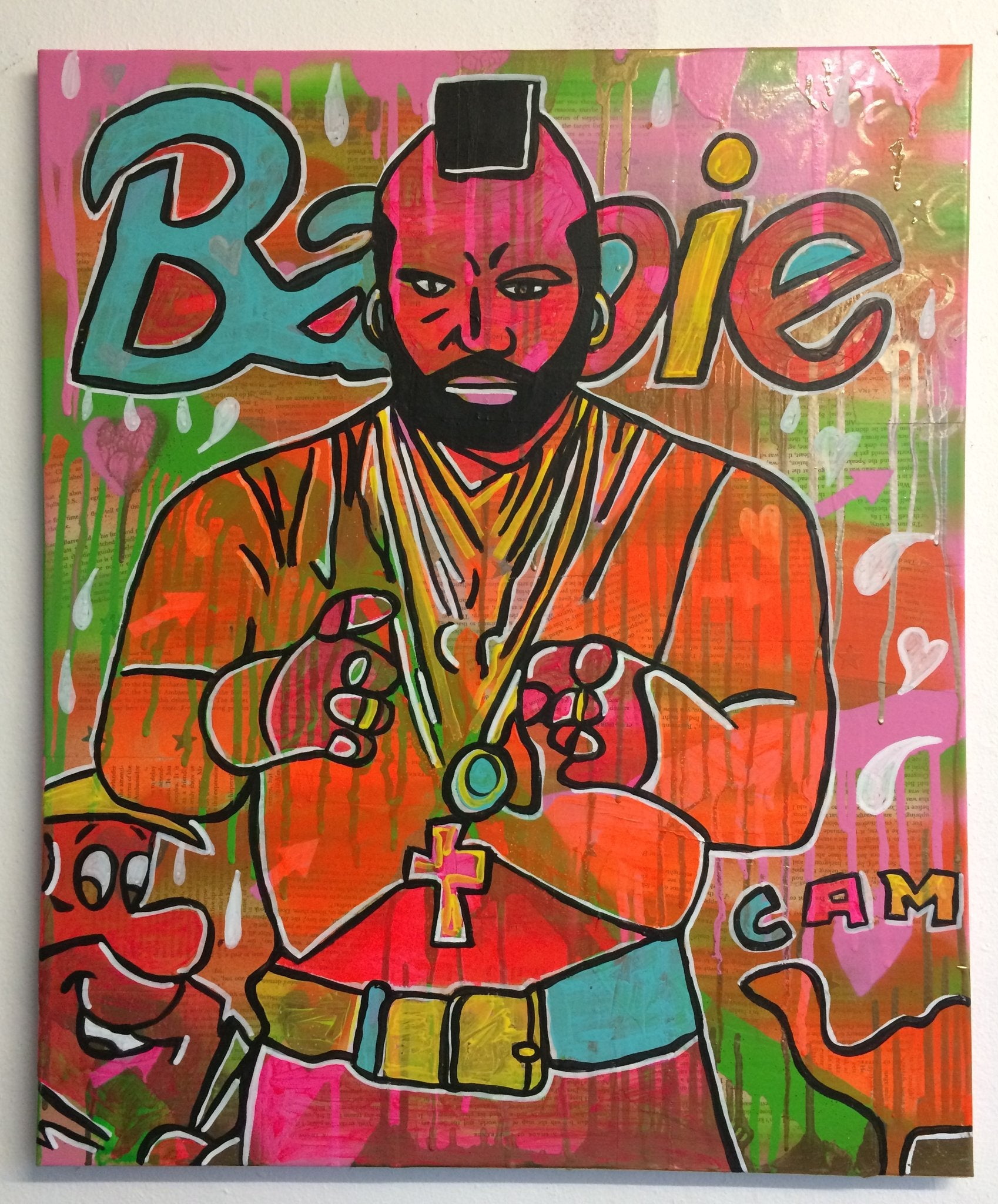 The soft machine by Barrie J Davies 2015, Mixed media on Canvas, 50cm x 60cm, Unframed. Barrie J Davies is an Artist - Psychedelic pop surreal street art inspired Artist based in Brighton England UK - Paintings, Prints & Editions available.