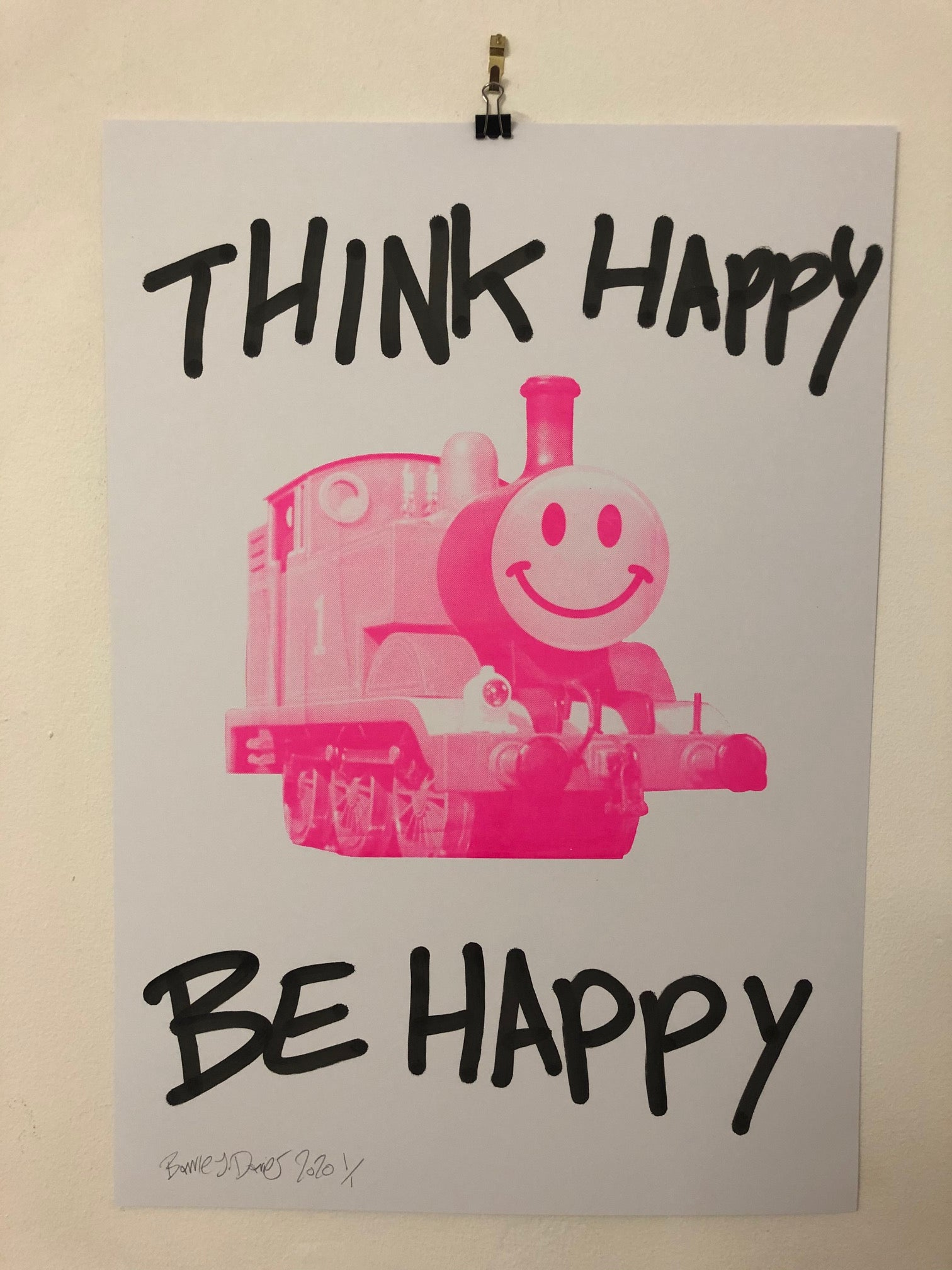 Think Happy Trip Print by Barrie J Davies 2020 - unframed Silkscreen print on paper (hand finished) edition of 1/1 - A2 size 42cm x 59.4cm. Urban Pop Art and Street art inspired Artist based in Brighton England UK - Pop Art Paintings, Street Art Prints & collectables