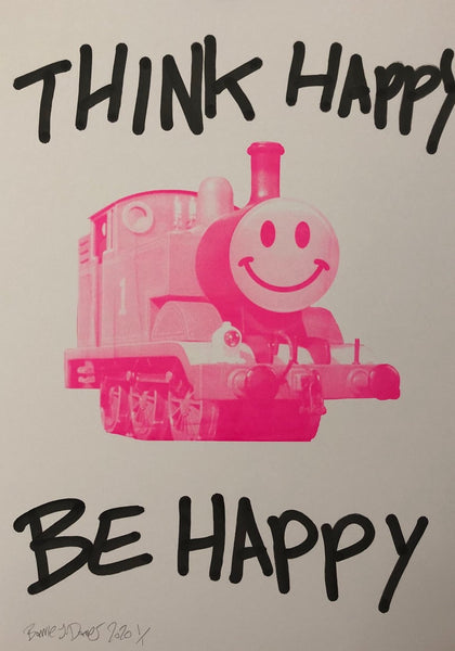 Think Happy Trip Print by Barrie J Davies 2020 - unframed Silkscreen print on paper (hand finished) edition of 1/1 - A2 size 42cm x 59.4cm. Urban Pop Art and Street art inspired Artist based in Brighton England UK - Pop Art Paintings, Street Art Prints & collectables.