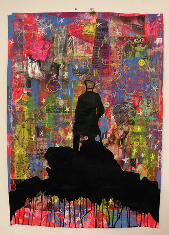 Wanderer above the Sea of media by Barrie J Davies 2019, Mixed media on Paper (unframed) A1 size 59cm x 84cm. Barrie J Davies is an Artist - Pop Art and Street art inspired Artist based in Brighton England UK - Pop Art Paintings, Street Art Prints & Editions available