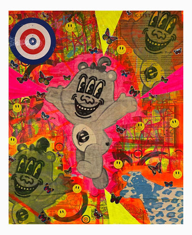 Wrong Bear Painting by Barrie J Davies 2021, Mixed media on Canvas, 60cm x 50cm, Unframed.