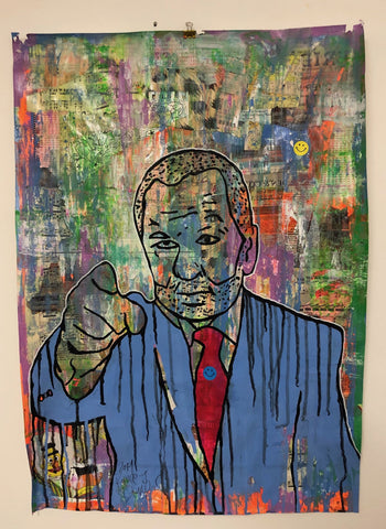 Your Hired by Barrie J Davies 2019, Mixed media on Paper (unframed) A1 size 59cm x 84cm. Barrie J Davies is an Artist - Pop Art and Street art inspired Artist based in Brighton England UK - Pop Art Paintings, Street Art Prints & Editions available.