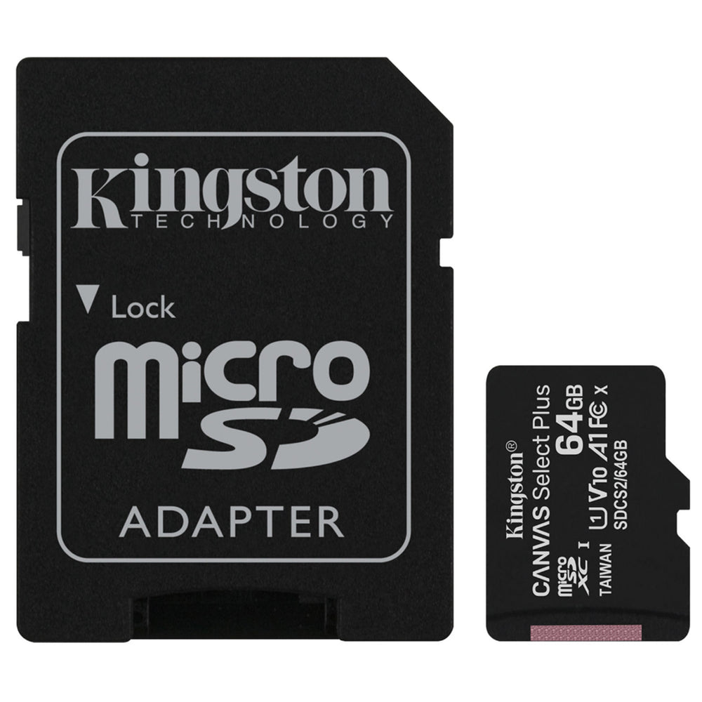 KINGSTON 64GB MICROSD -MEMORY CARD WITH SD ADAPTER